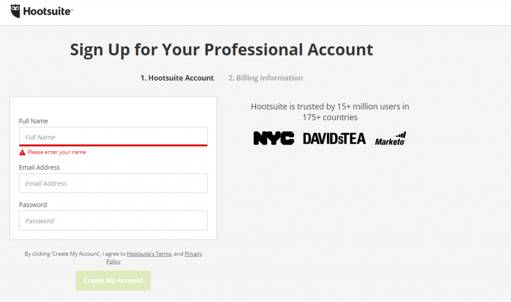signup forms hootsuite
