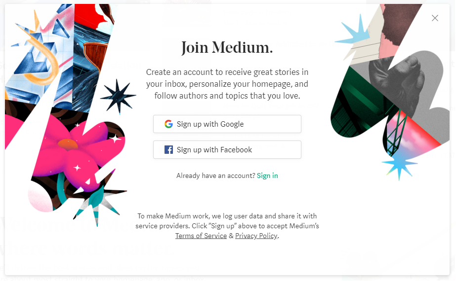 signup forms medium