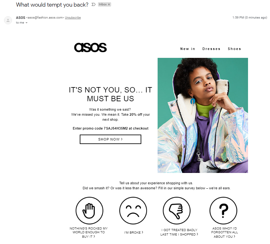 asos activetrail example email