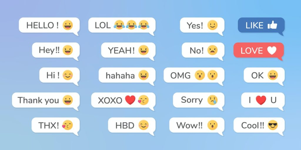 Texting bubbles with words shortcuts