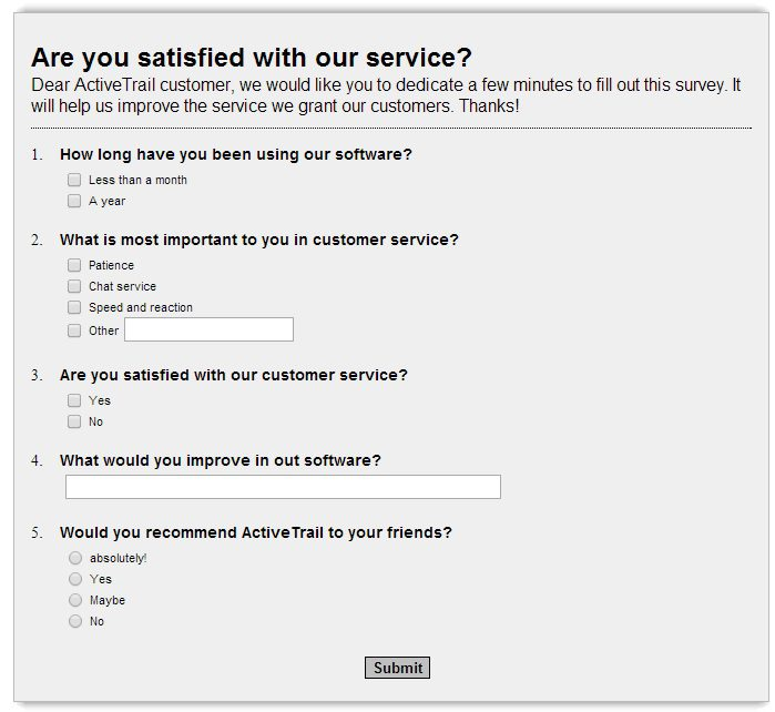 An example of an online survey