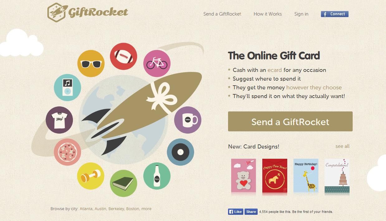 דף נחיתה לדוגמה: GiftRocket