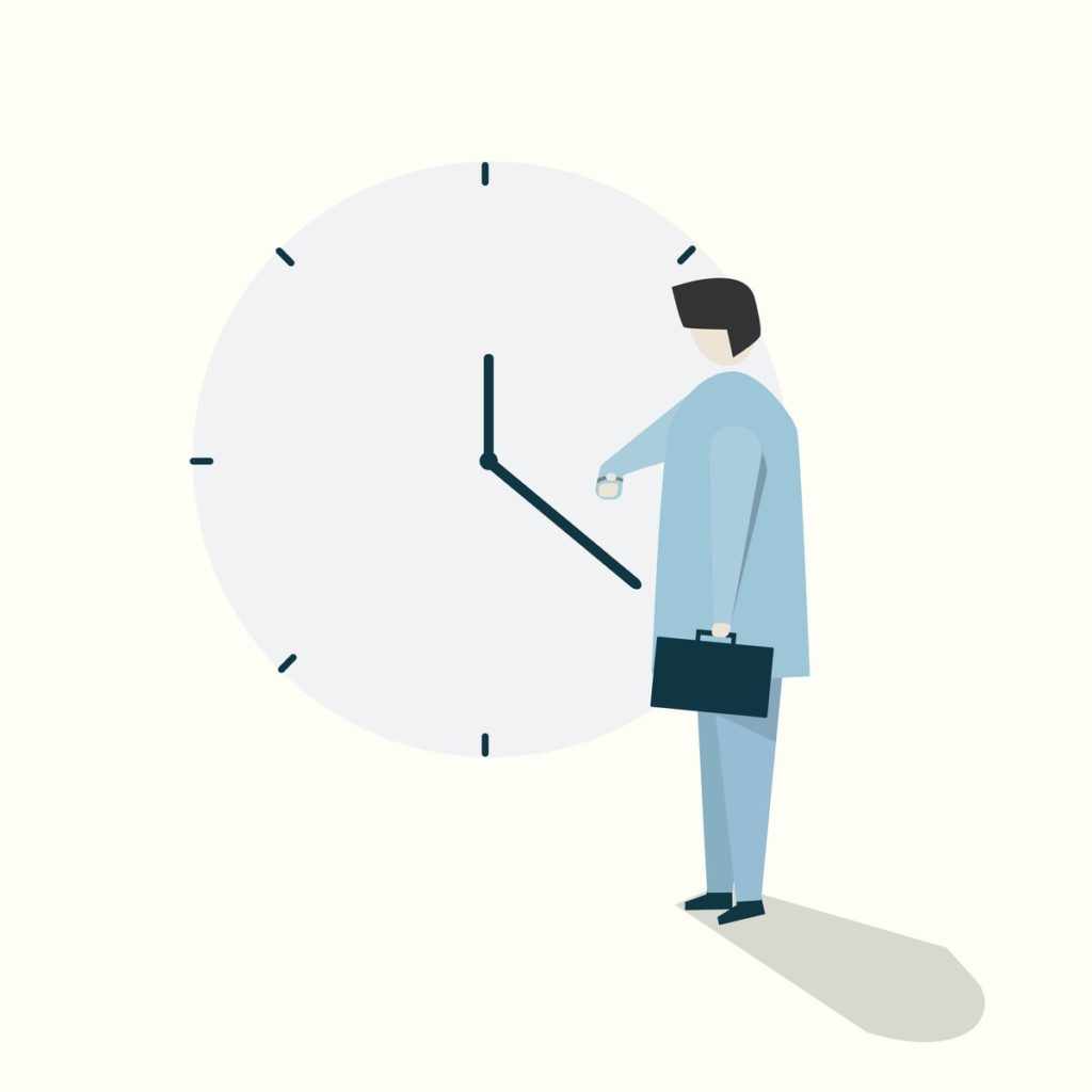 illustration of a person checking her watch