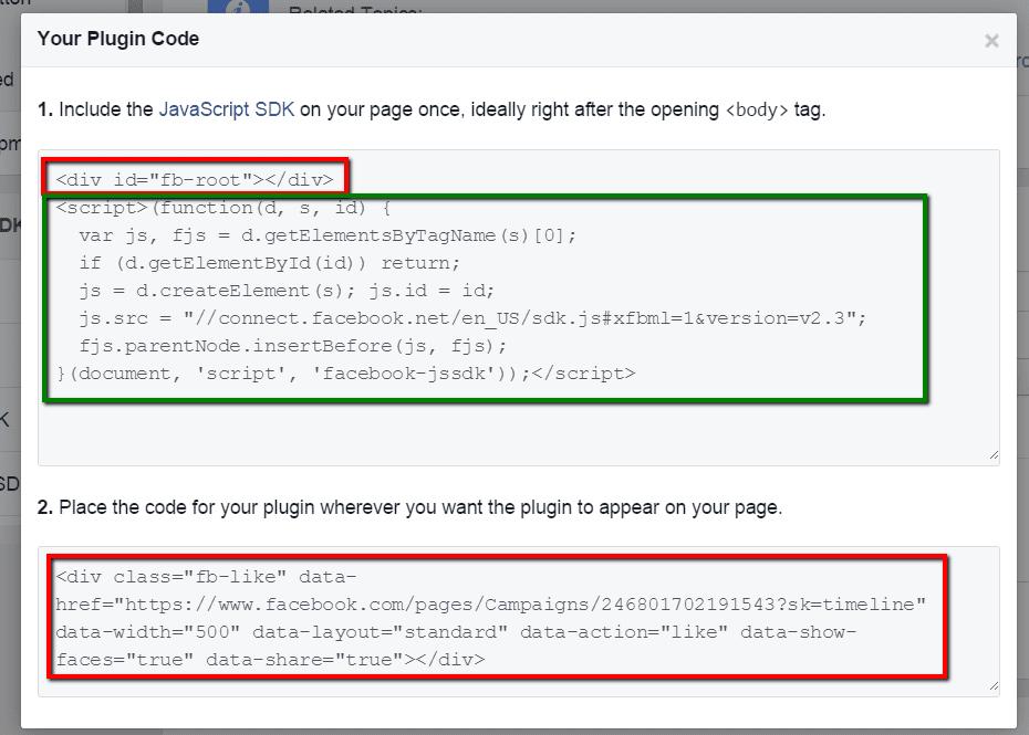 כפתור יצירת קוד פייסבוק