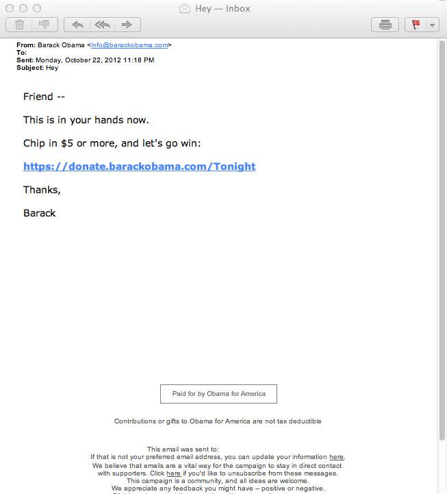 Obama newsletter