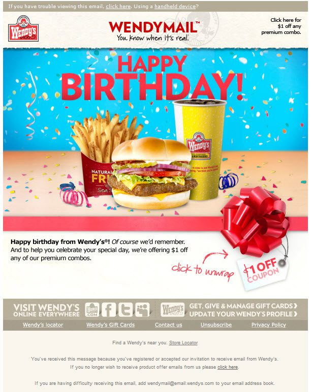 newsletter Wendy's