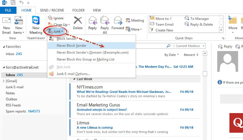 Outlook safe senders