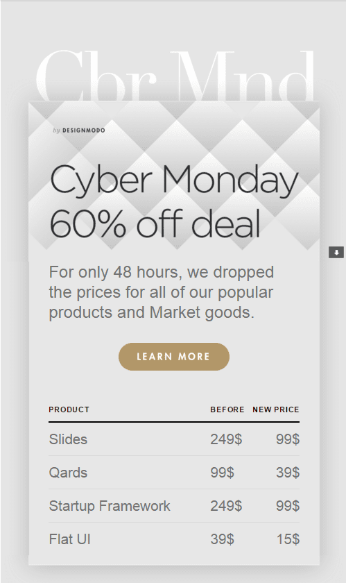 Cyber Monday chez Designmodo