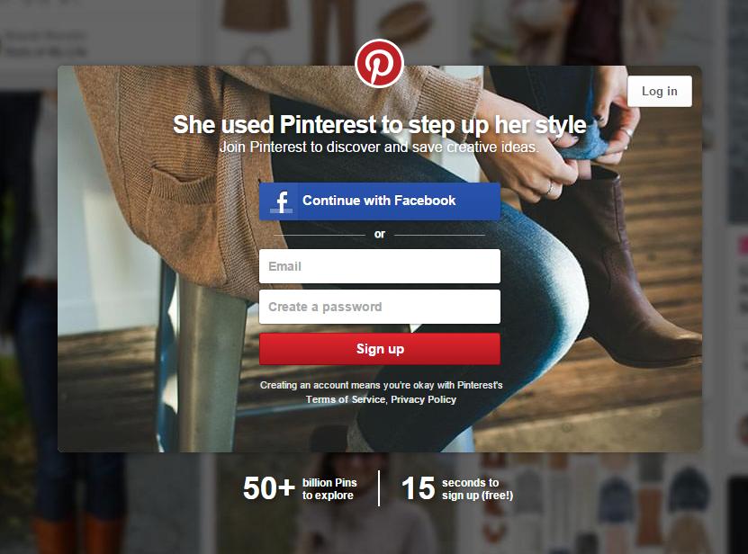 un exemple de page d'atterrissage de Pinterest