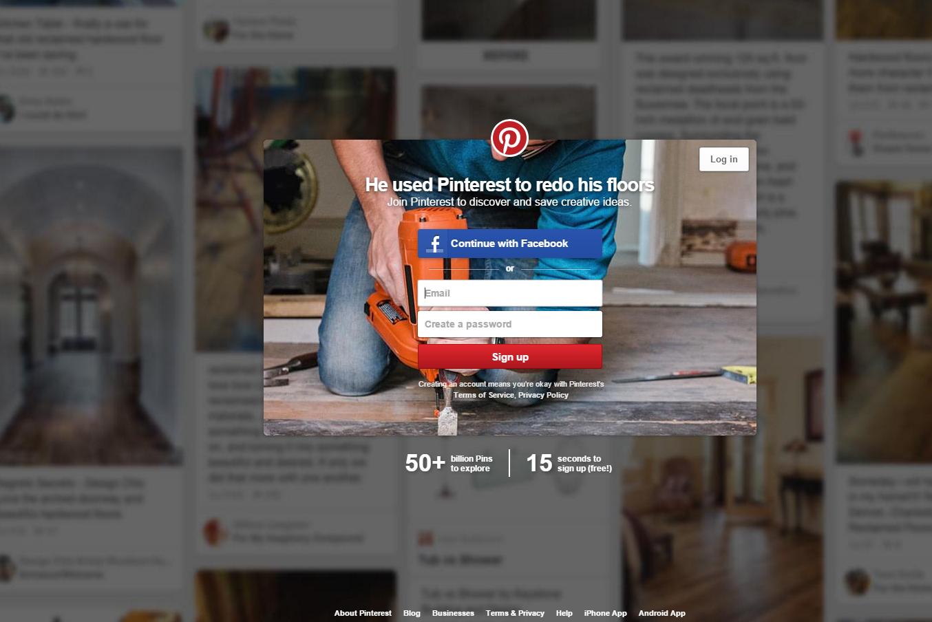 un modèle de landing page de Pinterest