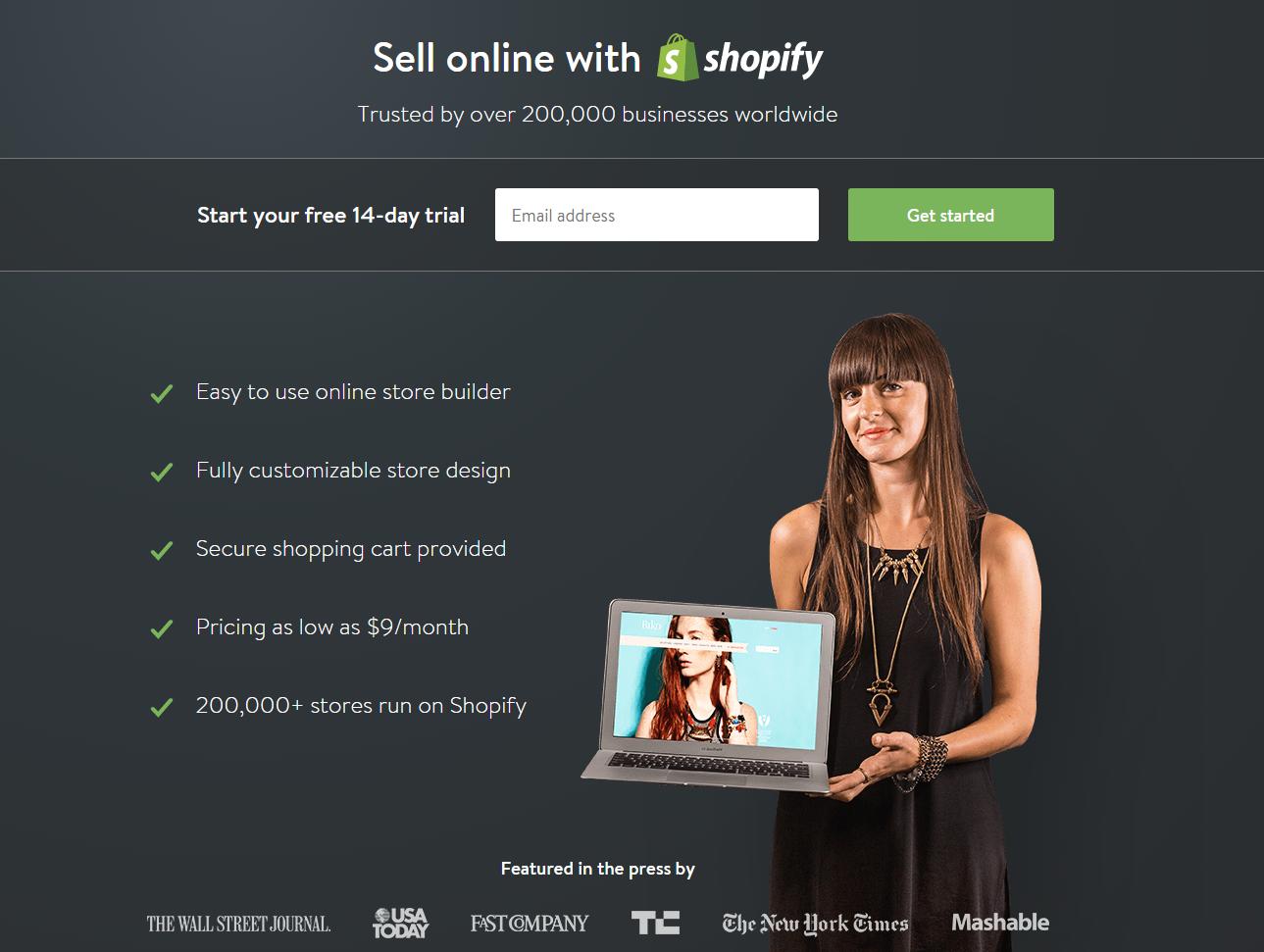 un exemple de landing page de Shopify