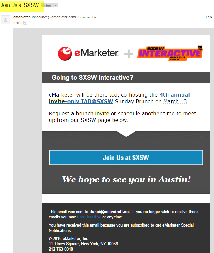 emarketer email d'invitation