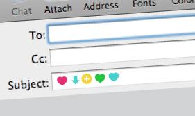 Añadiendo símbolos a la línea de asunto