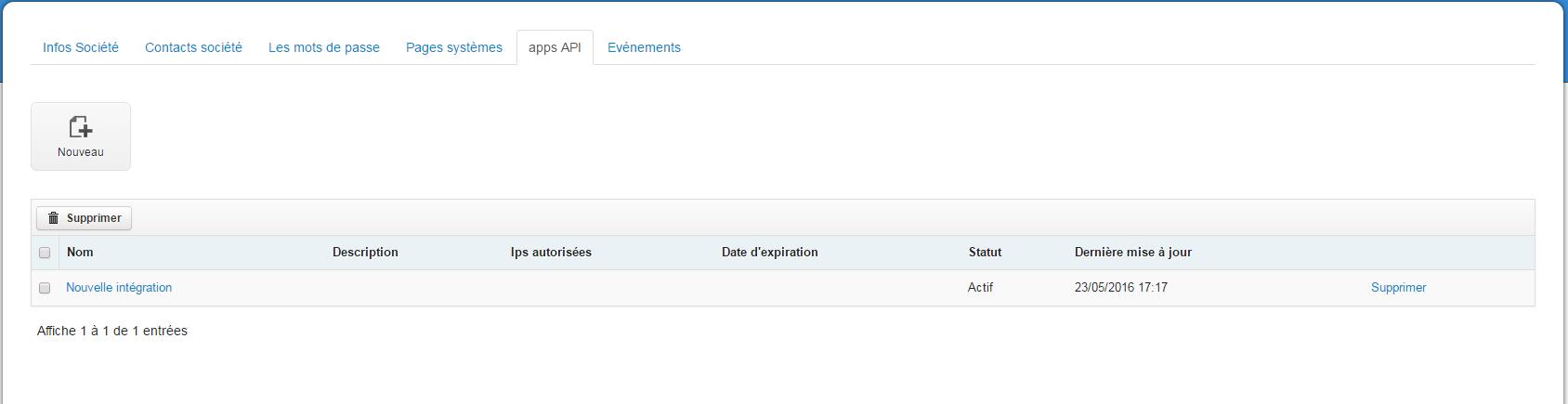 Nouvelle intégration API