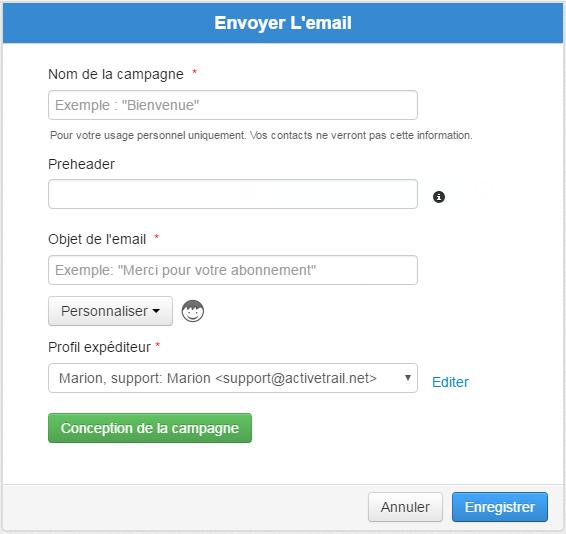 Paramètres Envoi Email