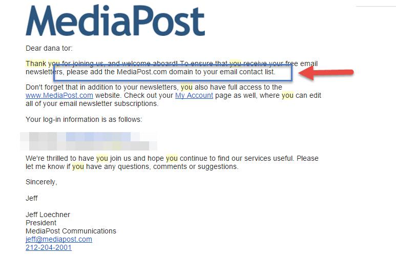 Mail de remerciement MediaPost