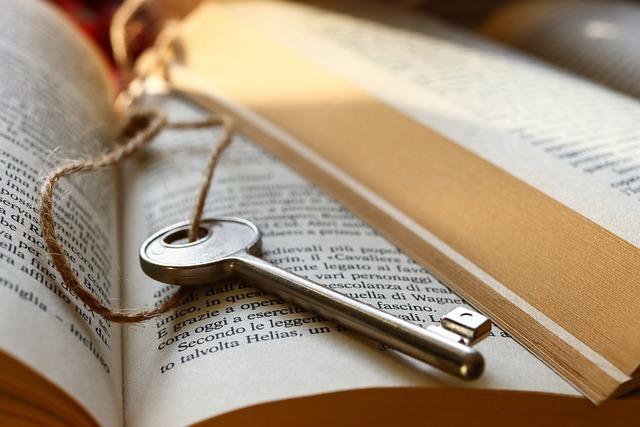 key lays on book