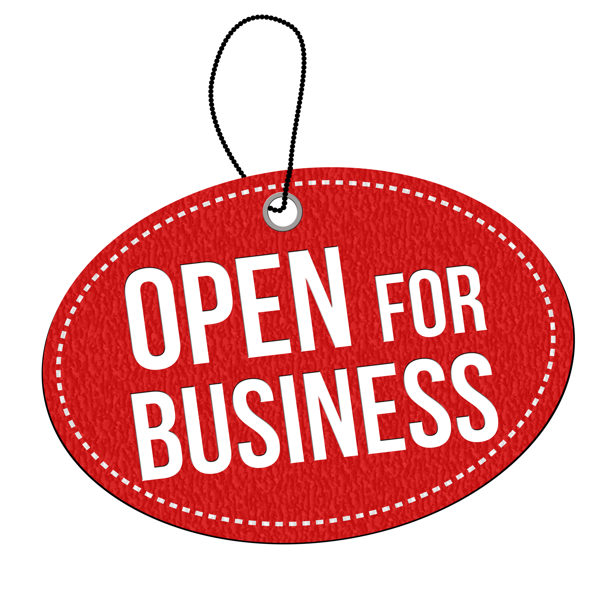 Open for business label