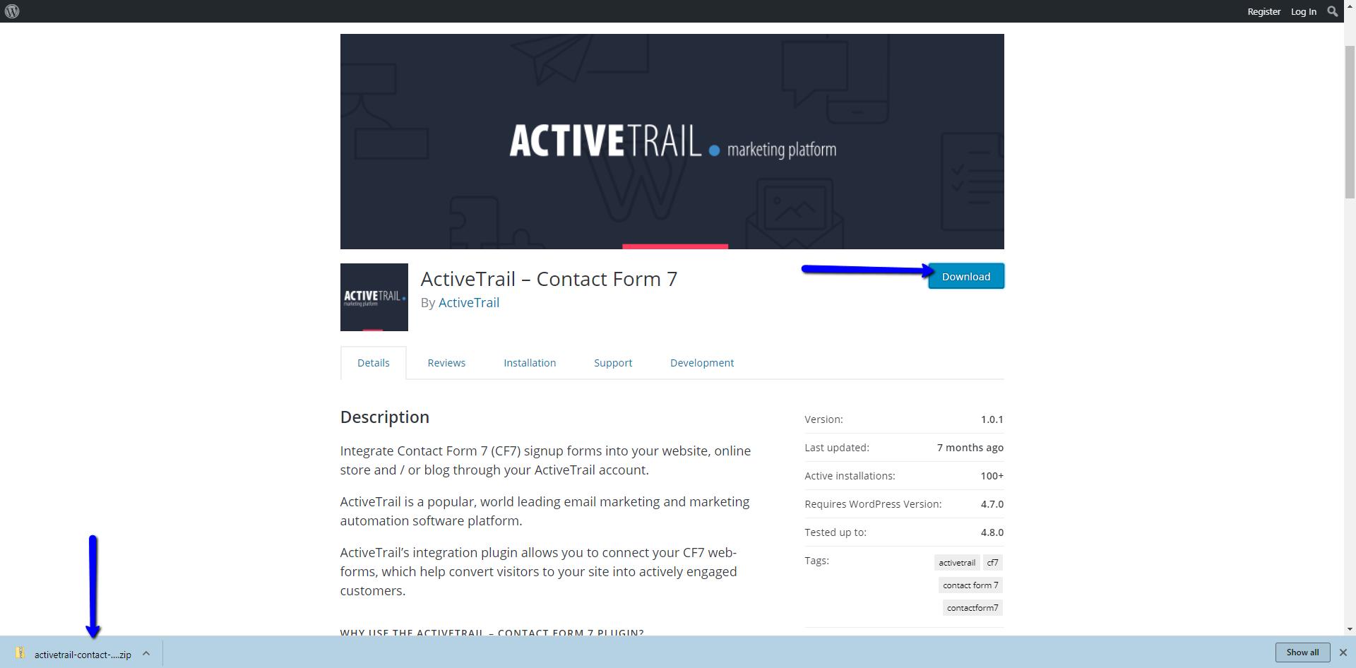 הורדת תוסף אקטיב טרייל contact form 7
