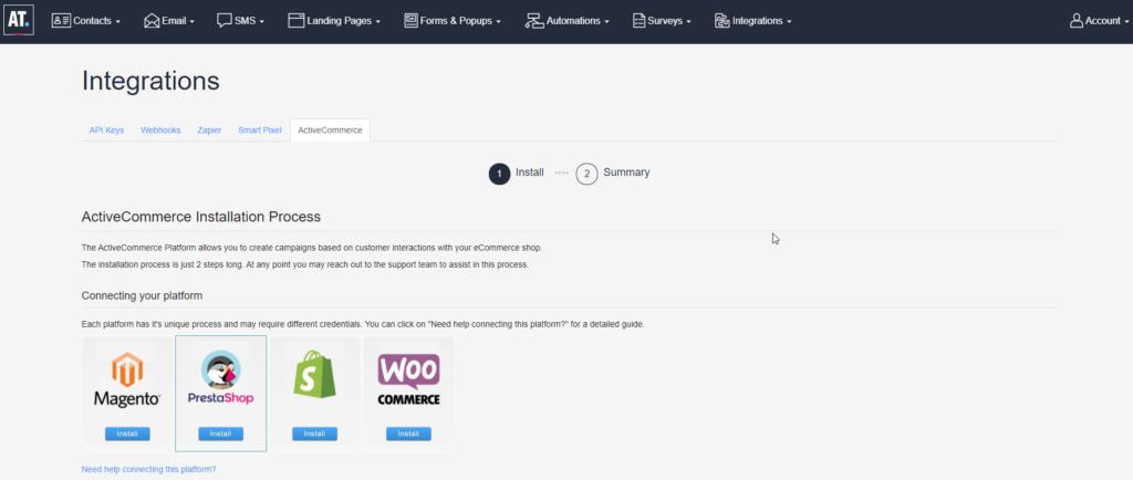 Ecommerce Shops Integration Screen