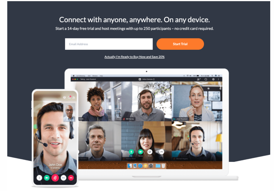 Gotomeeting landing page example