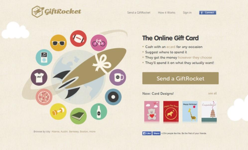 דוגמה לשילוב נכון של הנעה לפעולה בדף הנחיתה של חברת GiftRocket, המתמחה בכרטיסי ברכה
